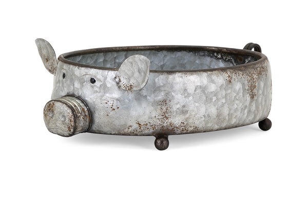 pig planter metal galvanized outdoor planter ages well