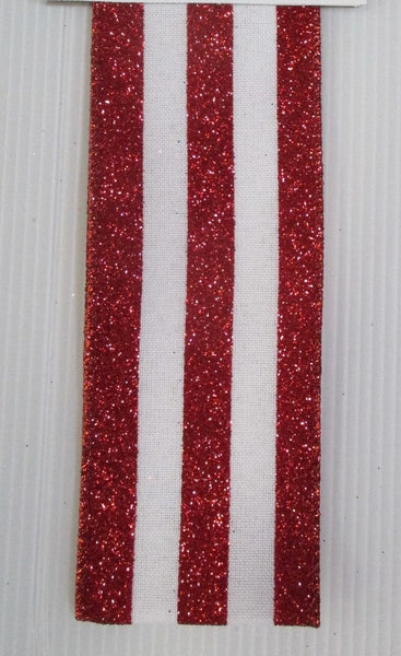 Red and White Glitter Striped Ribbon