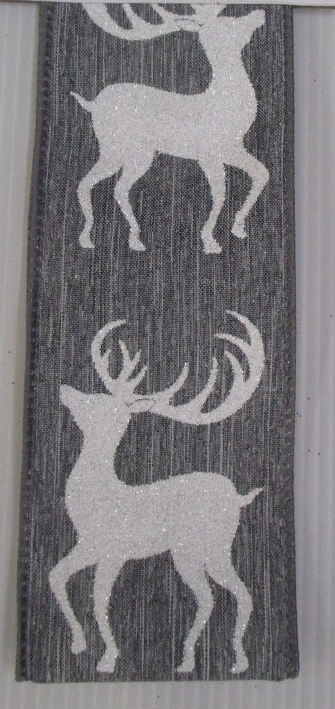 White and Grey Glittered Deer Ribbon