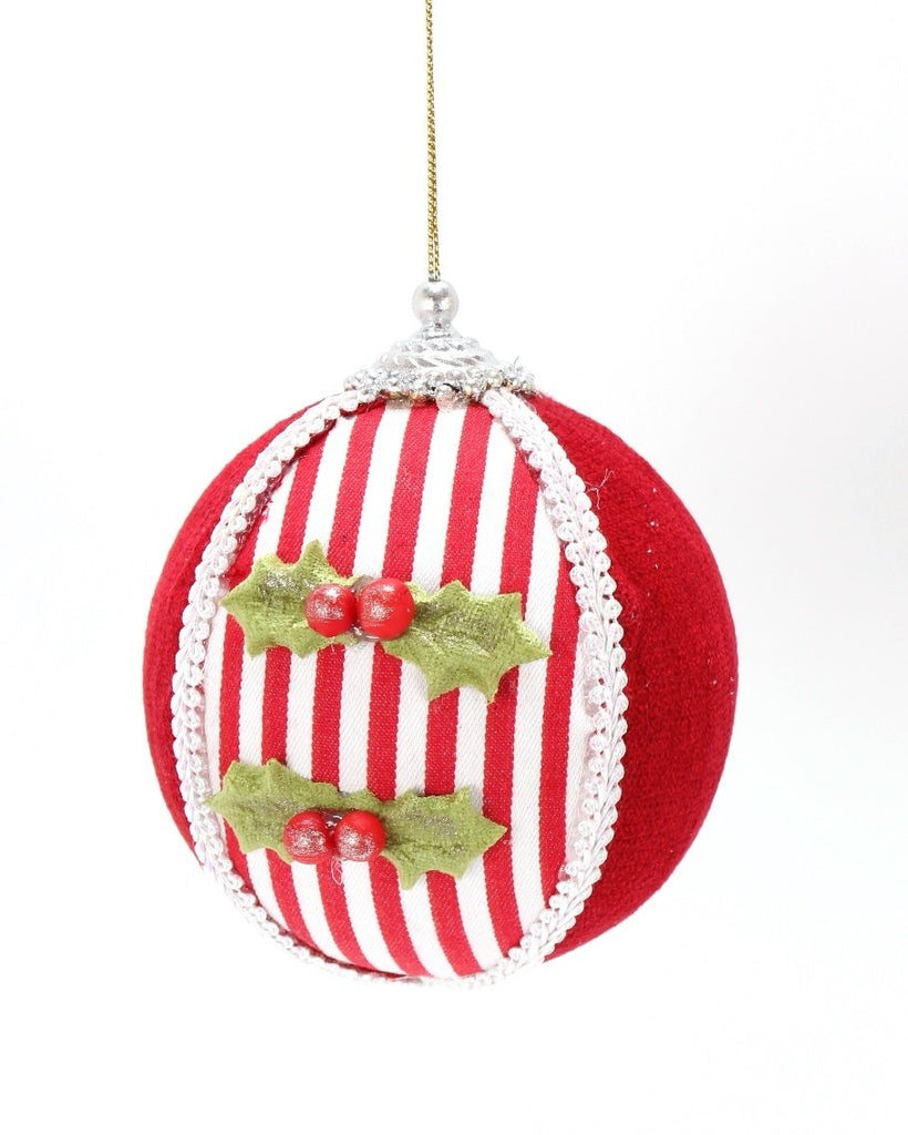 Red and White Ornament with Mistletoe