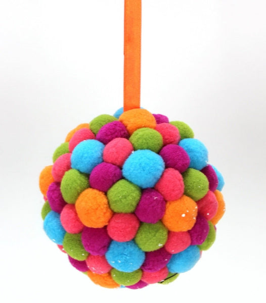 Multi-Colored Felt Pom Pom Christmas Ornament
