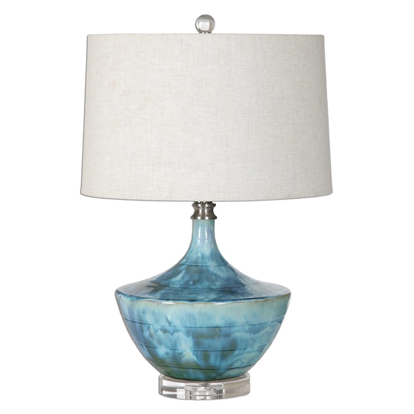 Blue Tie Dyed Ceramic Lamp
