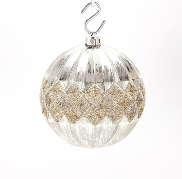 Round Platinum with Gold Bead Diamond Pattern Set of 4 Ornaments