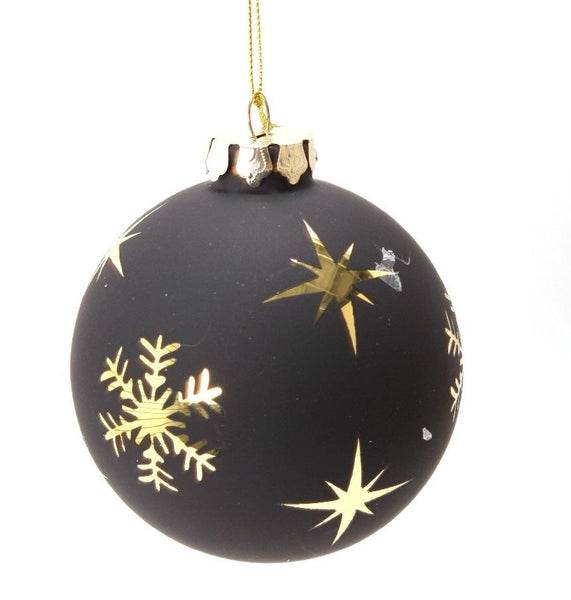 Glam Snowflake Black and Gold Ornament