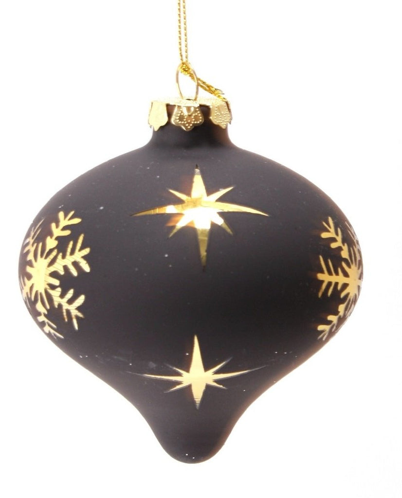 Glam Snowflake Black and Gold Onion Ornament