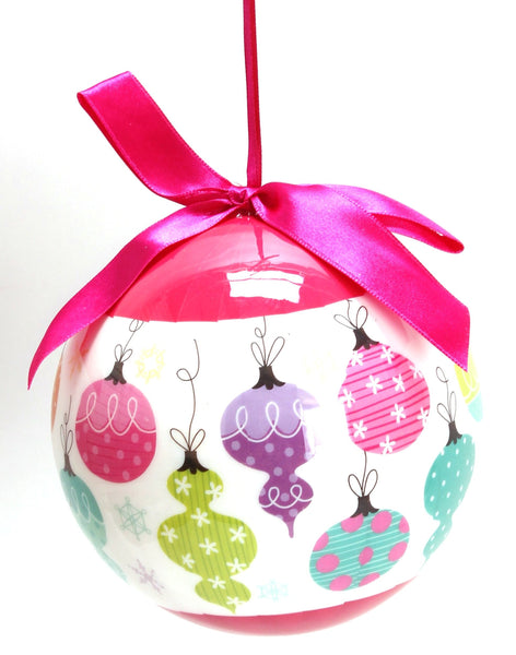 Multi-Color Christmas Ornament with Pink Ribbon