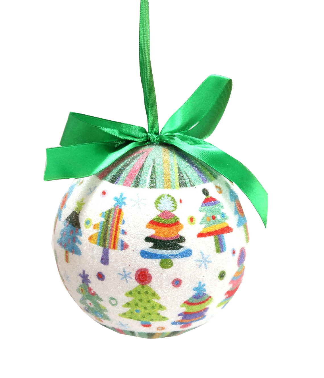 multi color christmas tree ornament with green silk ribbon