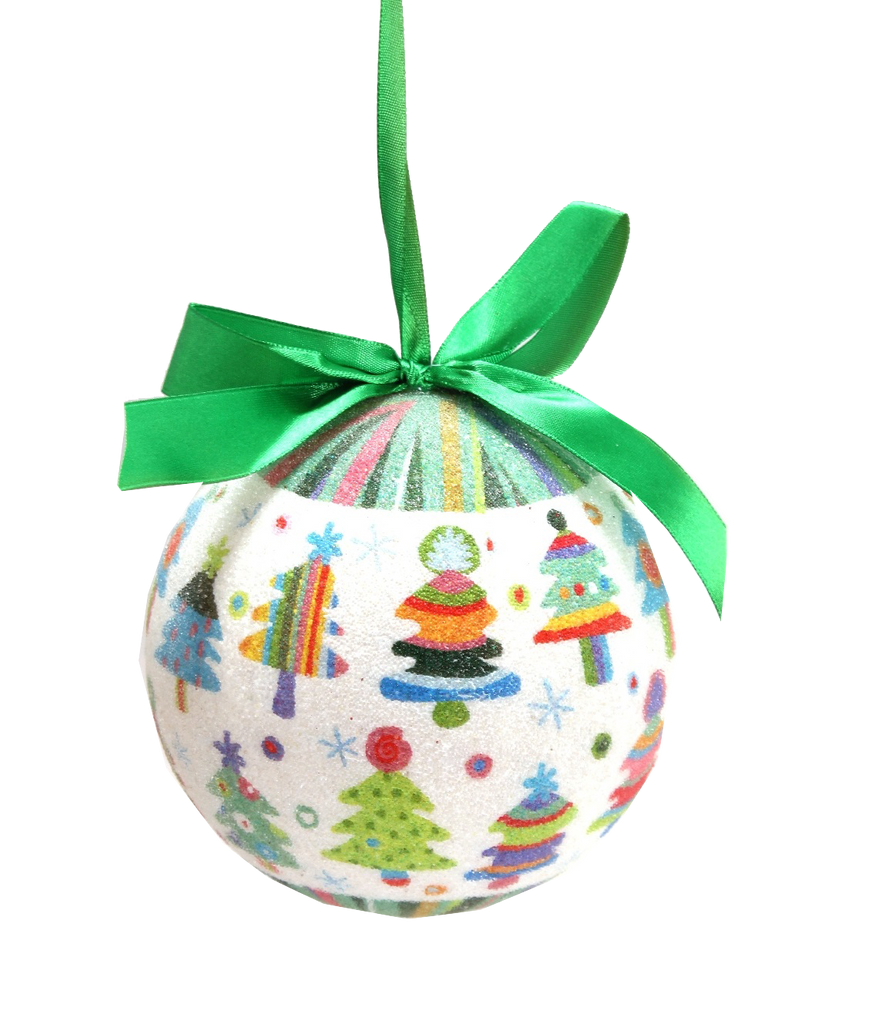Multi-Color Christmas Tree Ornament with Green Silk Ribbon
