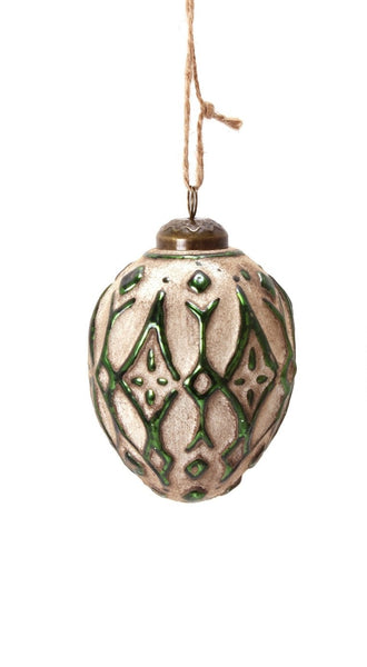 Glass Metal Ornament 4in