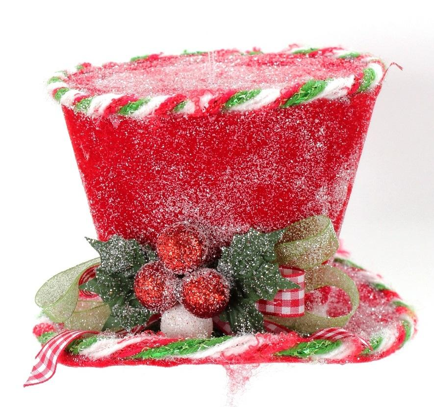 frosted top hat with ornaments and bow - Top Hat Christmas Decorations