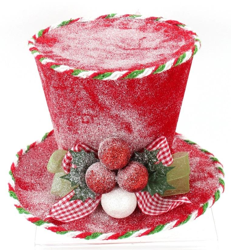 Frosted Top Hat with Red and Green Bow