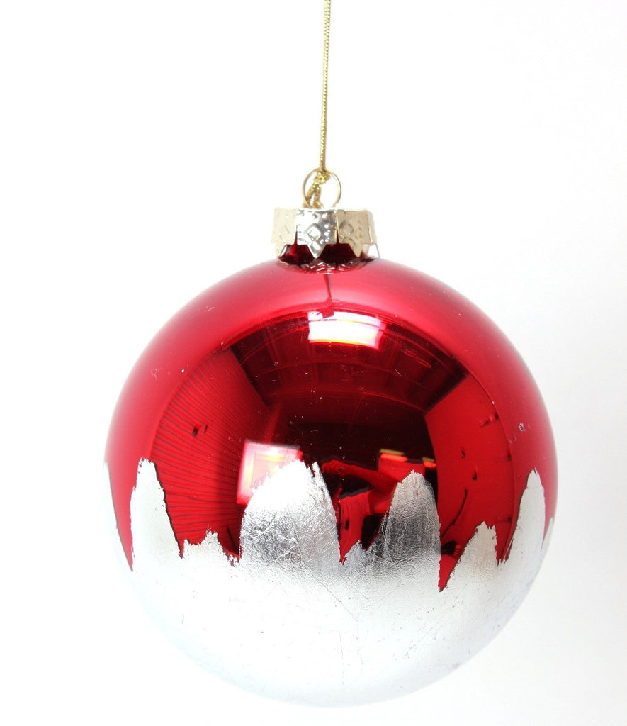 Red Glass Ornament Dipped in White