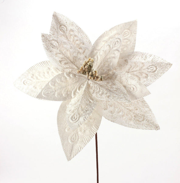 Embossed Iced Ivory Poinsettia