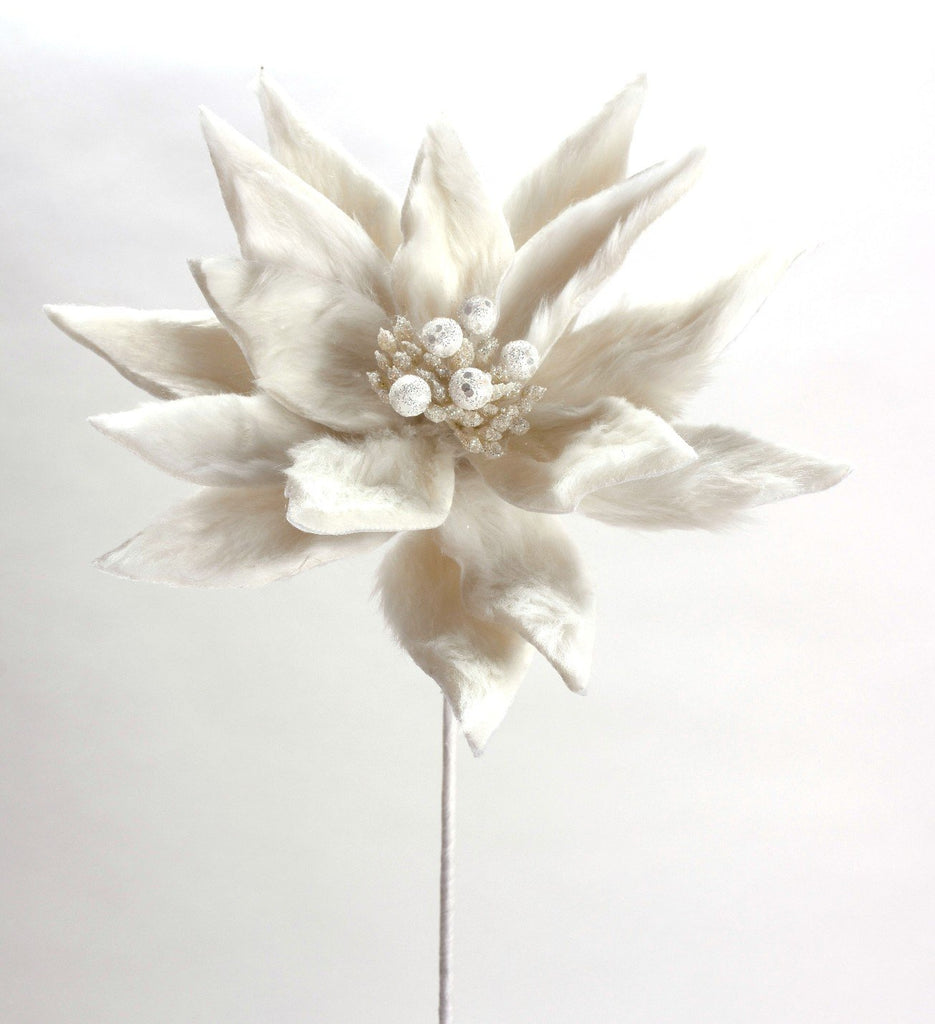 White Furry Jeweled Poinsettia Pick
