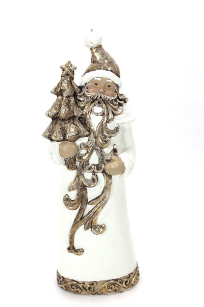 Ivory and Gold Santa with Christmas Tree