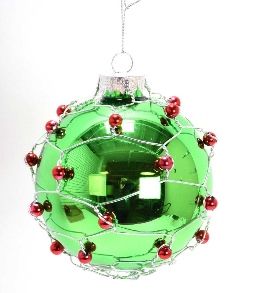Green Glass Ball Ornament Red Beads and Wire