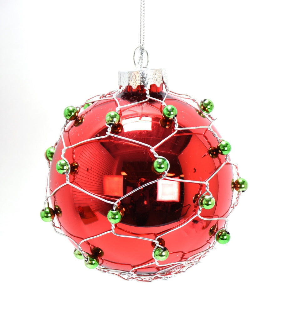 Red Glass Ball Ornament Green Beads and Wire