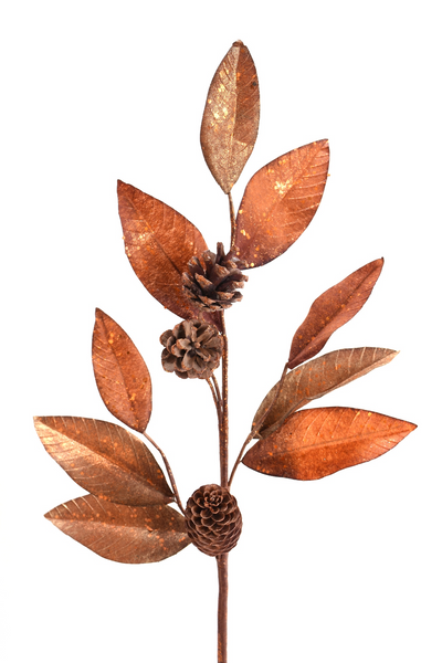 Copper Glitz Pinecone Spray
