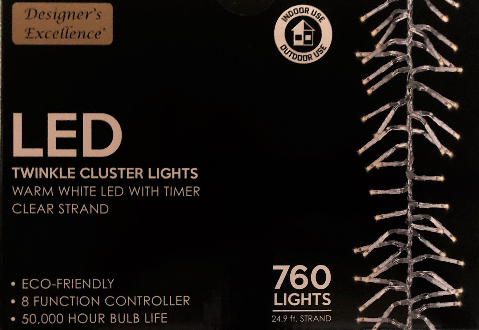 Warm White Twinkle Cluster Clear Strand 24 9 ft