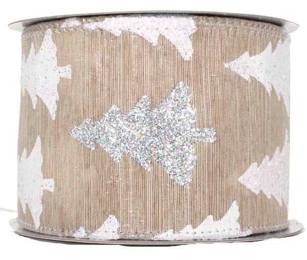 Burlap Glitter Christmas Tree Ribbon
