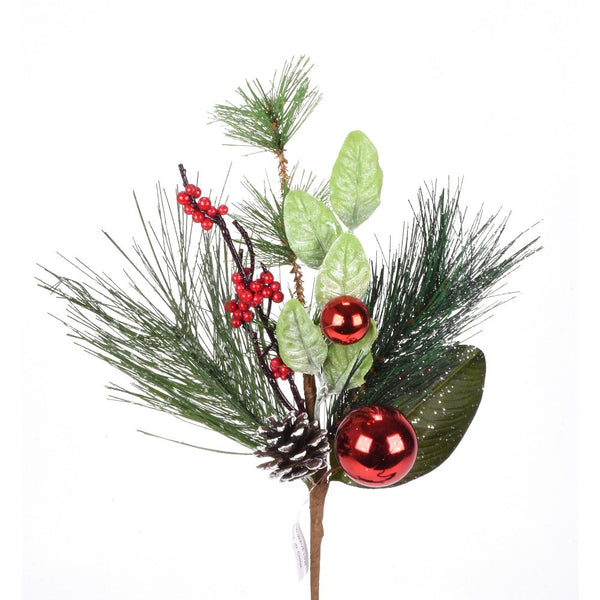 Frosted Greenery with Pinecone and Red Ball Pick