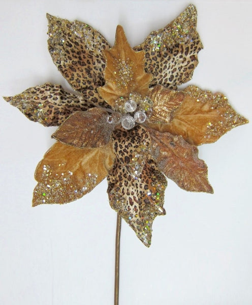 Jeweled Gold and Cheetah Print Poinsettia Stem