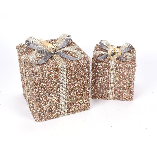 Glitter Mesh and Jeweled Present Ornaments