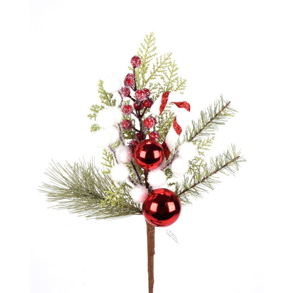 Frosted Pine with Candy Cane Pick