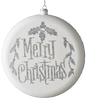 White and Silver Merry Christmas Disc Ornament
