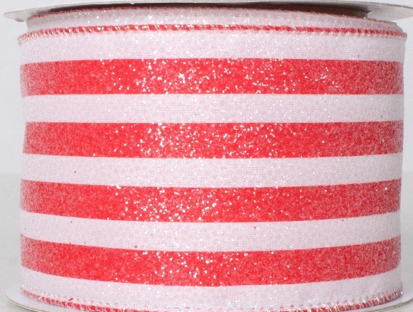 Red and White Glittered Ribbon