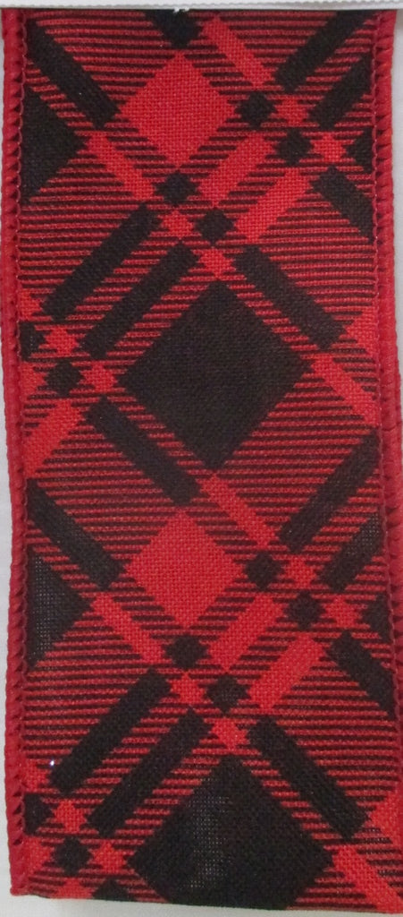 Red and Black Linen Check Ribbon