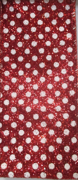 Red and White Glittery Polka Dot Ribbon