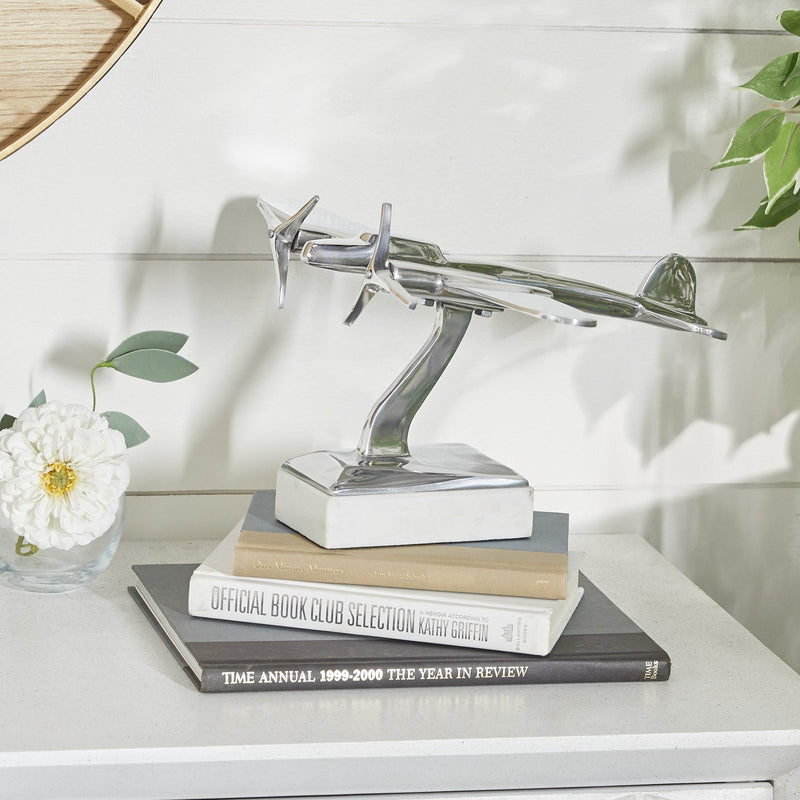 Airplane Statue on Marble Base