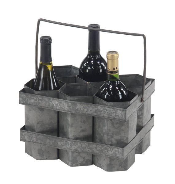 Metal Wine Caddy 6 Bottle