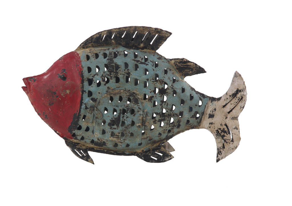 Metal Fish Lantern with Red Face