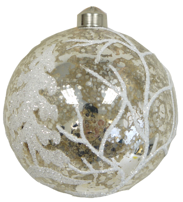Champagne Ornament with Glitter Swirls