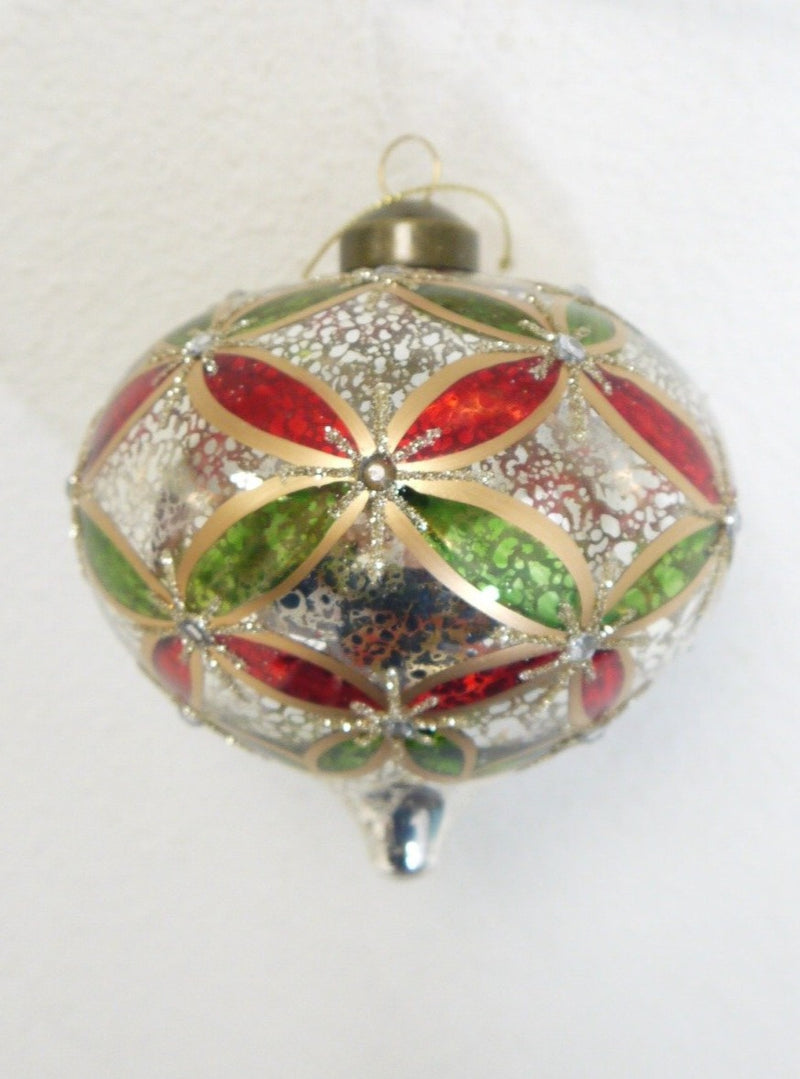 Red Green Gold Mercury Glass Onion Ornament