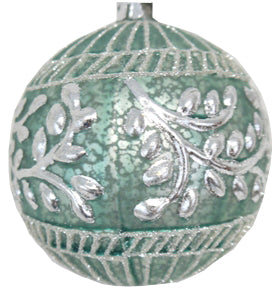 Mint Green and Silver Embossed Ornament