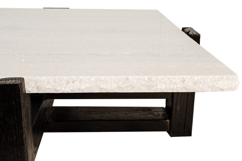 42in Marble Coffee Table on Burnt Oak