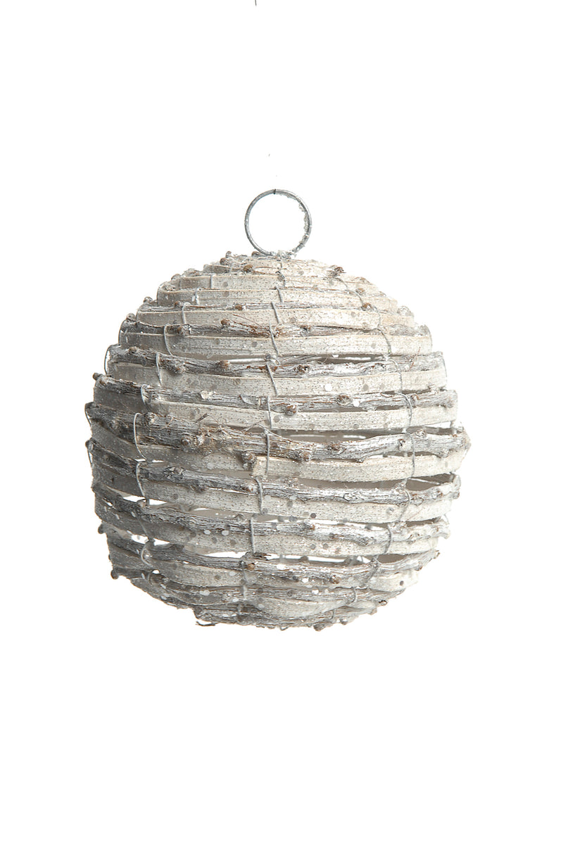 Wintery Rattan Ball Ornament