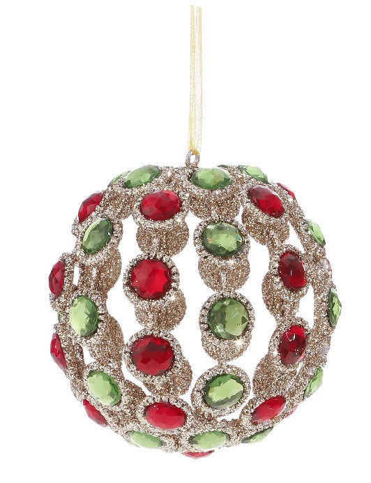 Red and Green Jeweled Ornament