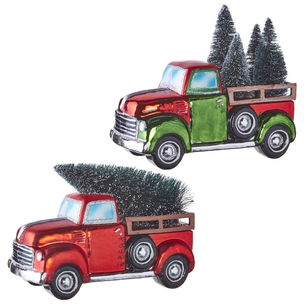 Vintage Pickup Truck with Tinsel Christmas Tree