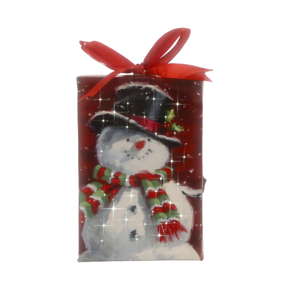 Holly Jolly Snowman Lit Wall Art