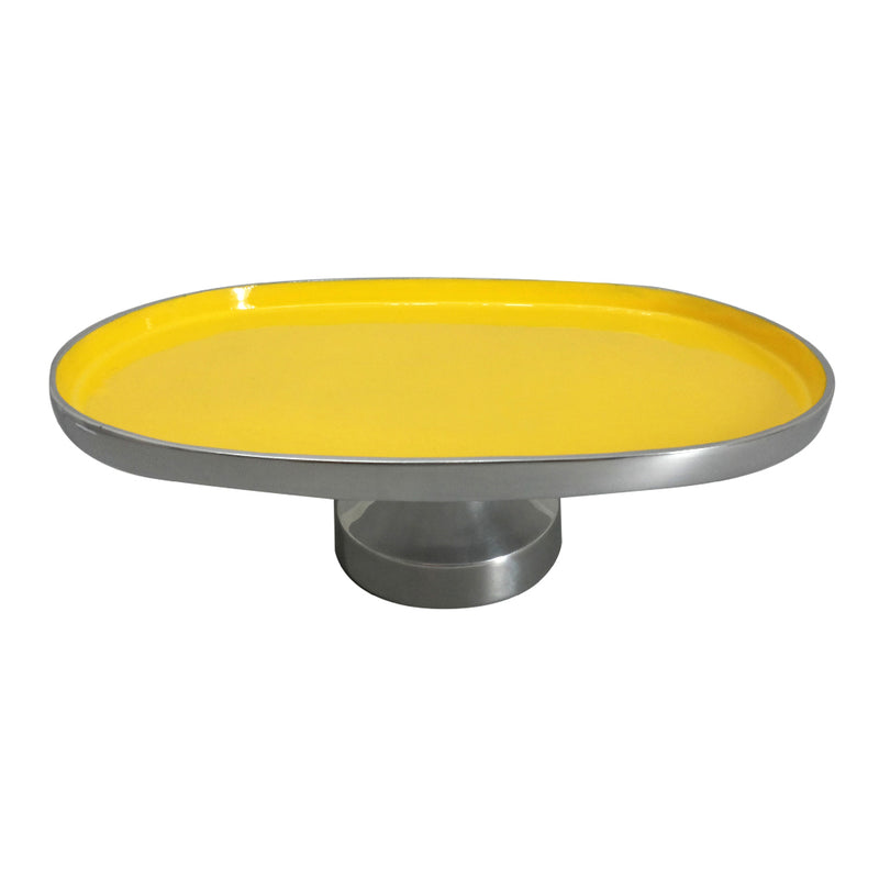 Yellow Faced Aluminum Footed Serving Tray