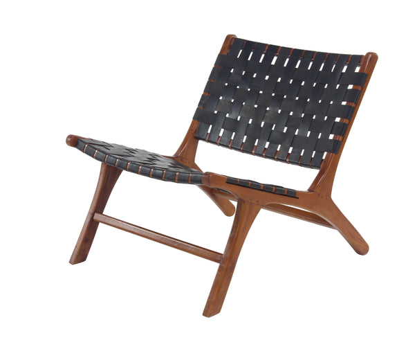Black Leather Woven Chair
