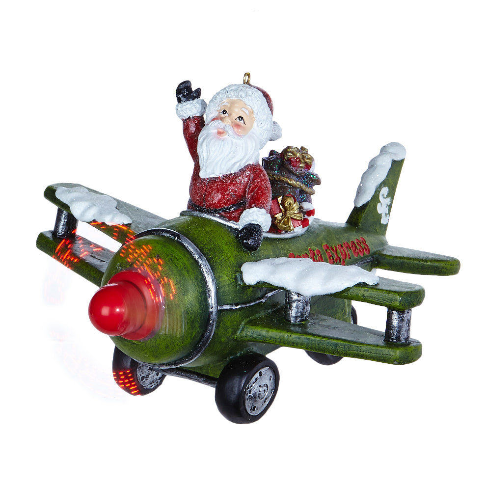 Animated Santa on Musical Green Airplane