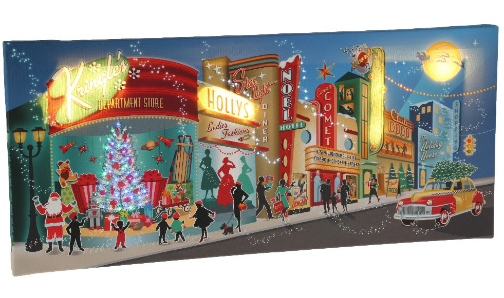 Old Town Lighted Christmas Town Print