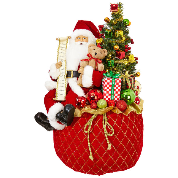 Lighted Toy Bag with Santa Figurine