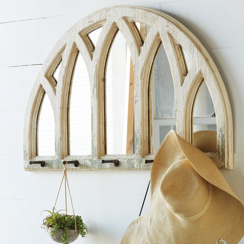 Distressed Half Round Mirror with Hooks