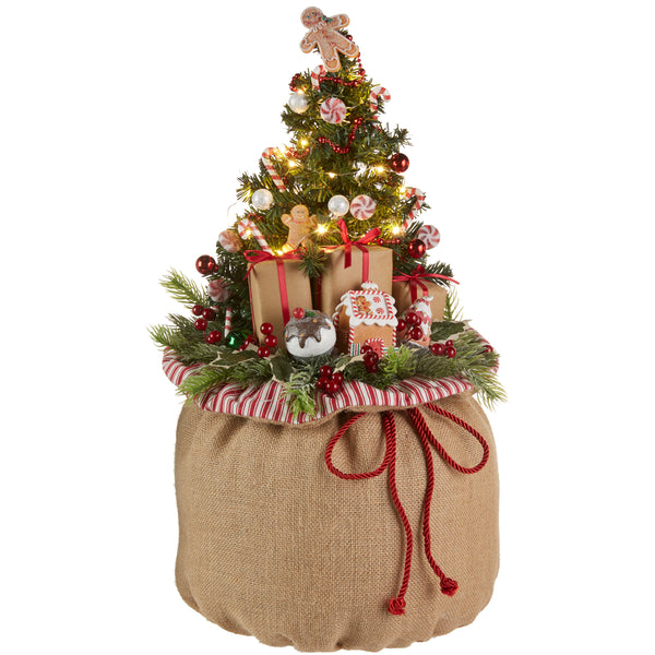 Lighted Christmas Tree in Burlap Bag